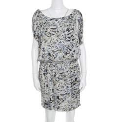 Catherine Malandrino Multicolor Printed Silk Draped Sleeve Gathered Waist Dress S