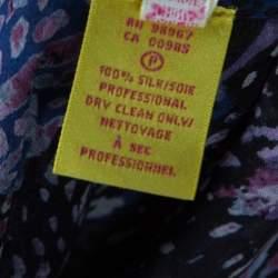 Catherine Malandrino Multicolor Printed Silk Frayed Neck Detail Long Sleeve Blouse S