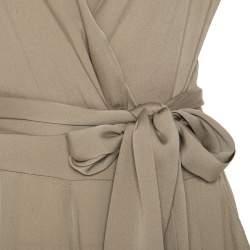 Catherine Malandrino Khaki Green Stretch Silk Draped Harem Jumpsuit S