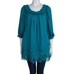 Catherine Malandrino Jade Green Cut Work Detailed Silk Blouse S