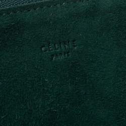Celine Green Suede Trio Zip Clutch