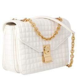 Celine White Medium Quilted Calfskin Leather C Bag
