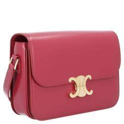 Celine Red Leather Medium Triomphe Shoulder Bag