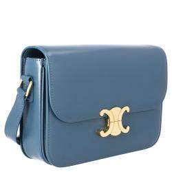 Celine Blue Leather Medium Triomphe Shoulder Bag