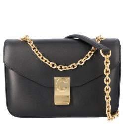 Celine Black Leather Medium C Shoulder Bag