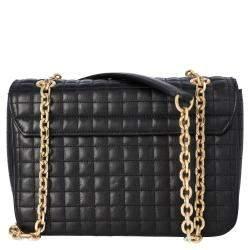 Celine Black Quilted Leather Medium C Shoulder Bag