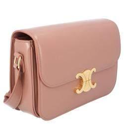 Celine Pink Leather Medium Triomphe Shoulder Bag
