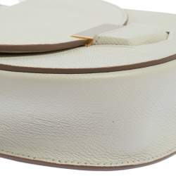 Celine White Leather Small Trotteur Crossbody Bag