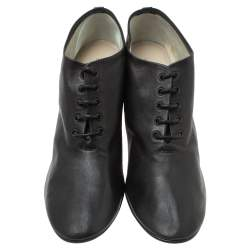 Celine Black Leather Lace Up Ankle Booties Size 39