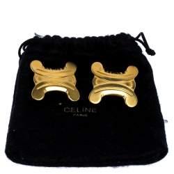 Celine Gold Metal Tone Clip On Earrings