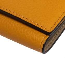 Celine Mustard Grained Leather Flap Key Case