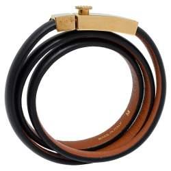 Céline Black Leather Triple Tour Bracelet M