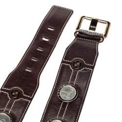 Celine Dark Brown Leather Coin Embellished Belt 90CM