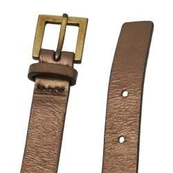 Céline Metallic Copper Leather Metal Link Double Wrap Bracelet