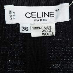 Celine Vintage Black Wool Sleeveless Bodycon Dress S