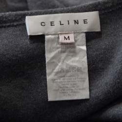 Celine Grey Embellished Cotton Short Sleeve T-Shirt M