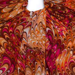 Celine Orange Abstract Print Sheer Silk Pleated Strapless Bodice Maxi Dress S