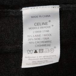 Celine Charcoal Grey Silk & Cashmere Blend Front Button Short Sleeve Cardigan L