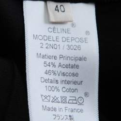 Celine Black Satin Elasticized Waist Knee Length Skirt M