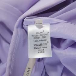 Celine Lavender Knit Button Front Short Sleeve Shirt S