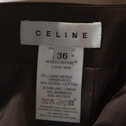 Celine Brown Wool Pleat Detail Belted Skirt S