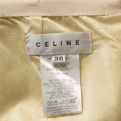 Celine Yellow Stretch Embossed Lurex Jacquard Pencil Skirt S