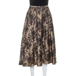 Celine Black And Beige Floral Silk Jacquard Flared Skirt S