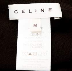 Celine Brown Cashmere Knit Long Sleeve Top M