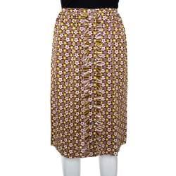 Celine Multicolor Floral Print Silk Ruffled A-Line Skirt S