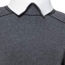 Celine Grey Wool Contrast Turtle Neck Sweater Dress S