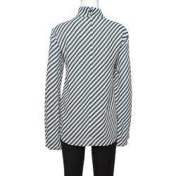 Celine Black Diagonal Stripe Textured Turtle Neck Top S