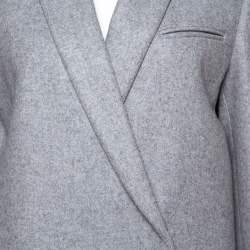 Celine Grey Cashmere Open Front Long Coat L
