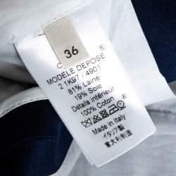 Celine Navy Blue Wool & Silk Tapered Trousers S