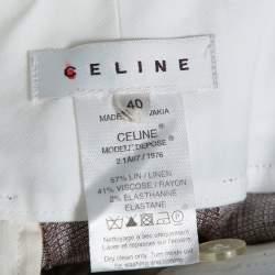 Celine Beige Linen Contrast Waist Band Shorts M