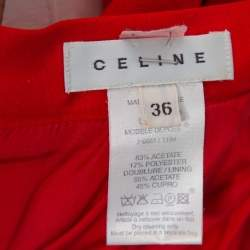 Celine Red Satin Open Back Bow Tie Waist Dress S