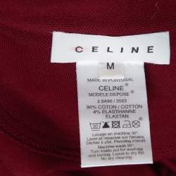 Celine Maroon Cotton Pique Logo Embroidered Polo T-Shirt M