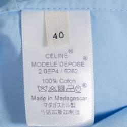 Celine Blue Cotton Paneled Oversized Shirt M