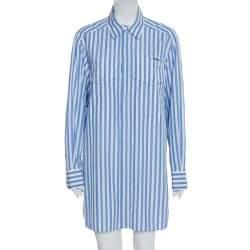 Celine Blue Striped Cotton Patch Pocket Detail Shirt Dress L
