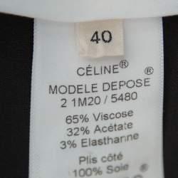 Celine Black Crepe Zip Detail Tapered Leg Trousers M