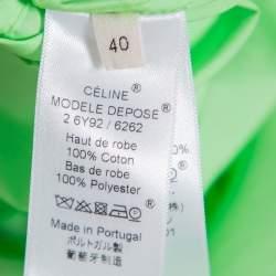 Celine Neon Green & Purple Color Block Reverse Closure Detail Oversized Midi Dress M
