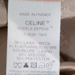Celine Grey Wool Waist Tie Detail Faux Wrap Asymmetric Hem Skirt M