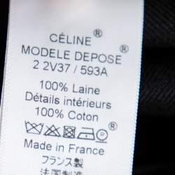 Celine Black Wool Rounded Hem Midi Skirt S