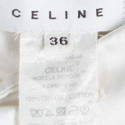 Celine Off White Cotton High Waist Belted Skirt S