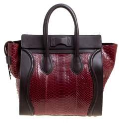 Celine Burgundy/Brown Python and Leather Mini Luggage Tote