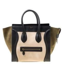Celine Tri Color Nubuck and Leather Mini Luggage Tote