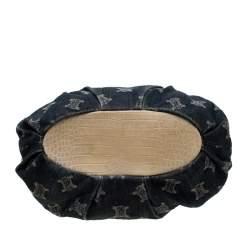 Celine Blue Macadam Denim and Croc Embossed Leather Tote
