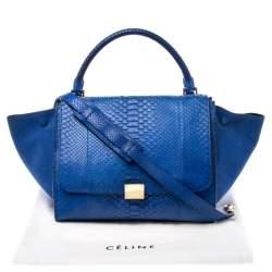 Celine Blue Python and Suede Medium Trapeze Bag