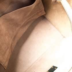 Celine Beige/Black Leather and Suede Medium Trapeze Top Handle Bag