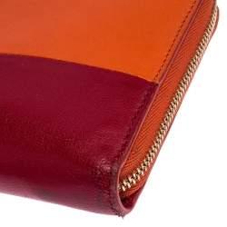 Celine Orange/Red Leather Zip Around Wallet