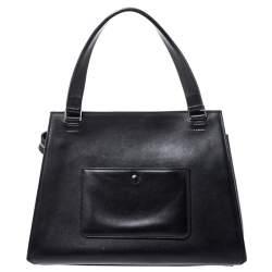 Celine Beige/Black Leather Medium Edge Top Handle Bag